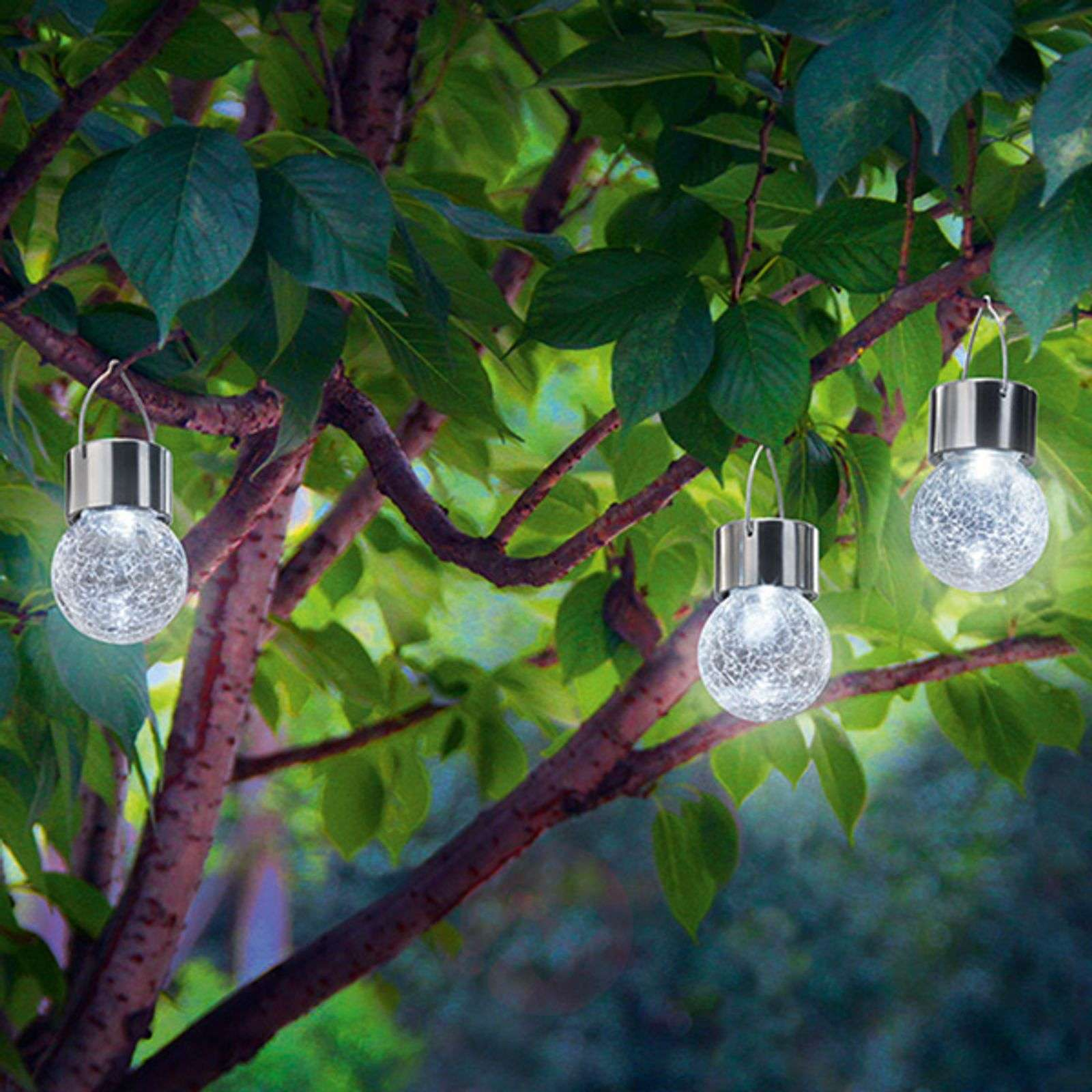 3 lampes solaires LED Crackle Ball 6 000 K-3012536-01