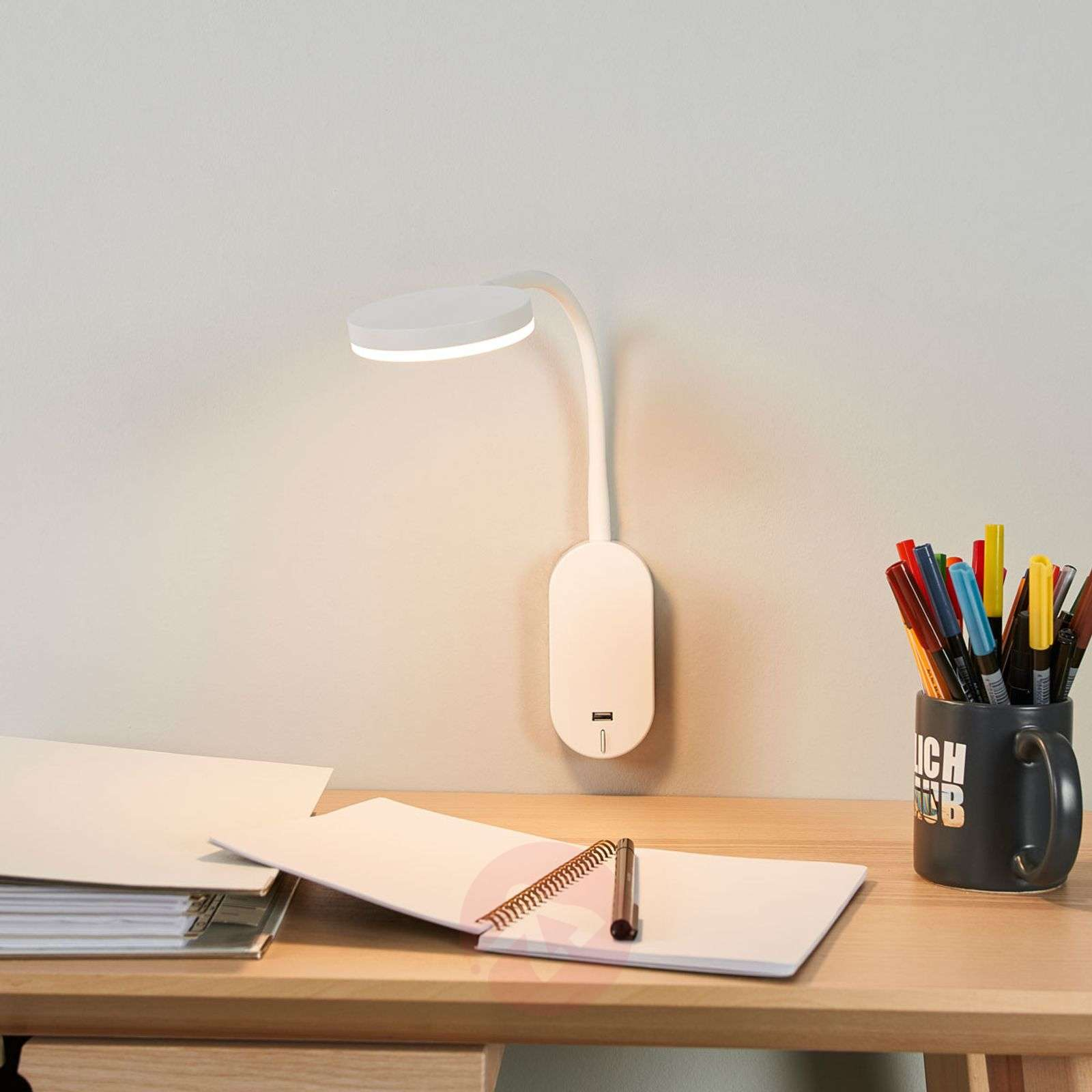 Applique LED avec bras flexible Milow, USB-9643030-01