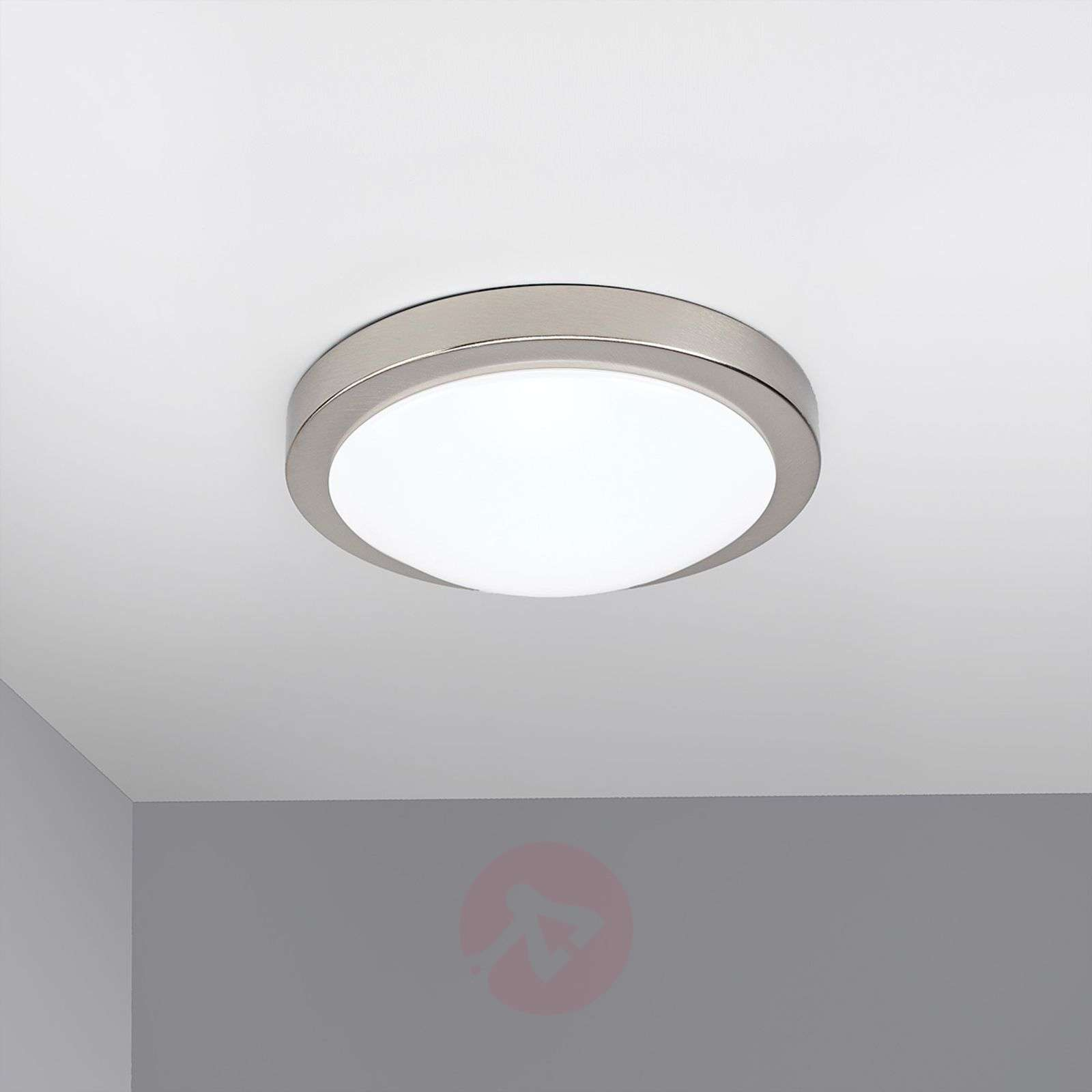 Aras plafonnier salle de bain led nickel mat for Plafonnier salle de bain led