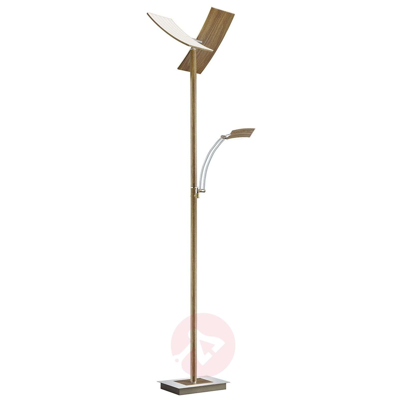 Lampadaire LED Duo dimmable, bois laqué-1554008-01