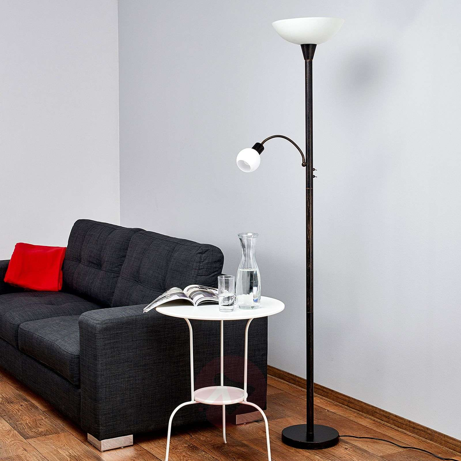 lampadaire led elaina couleur rouille avec liseuse. Black Bedroom Furniture Sets. Home Design Ideas