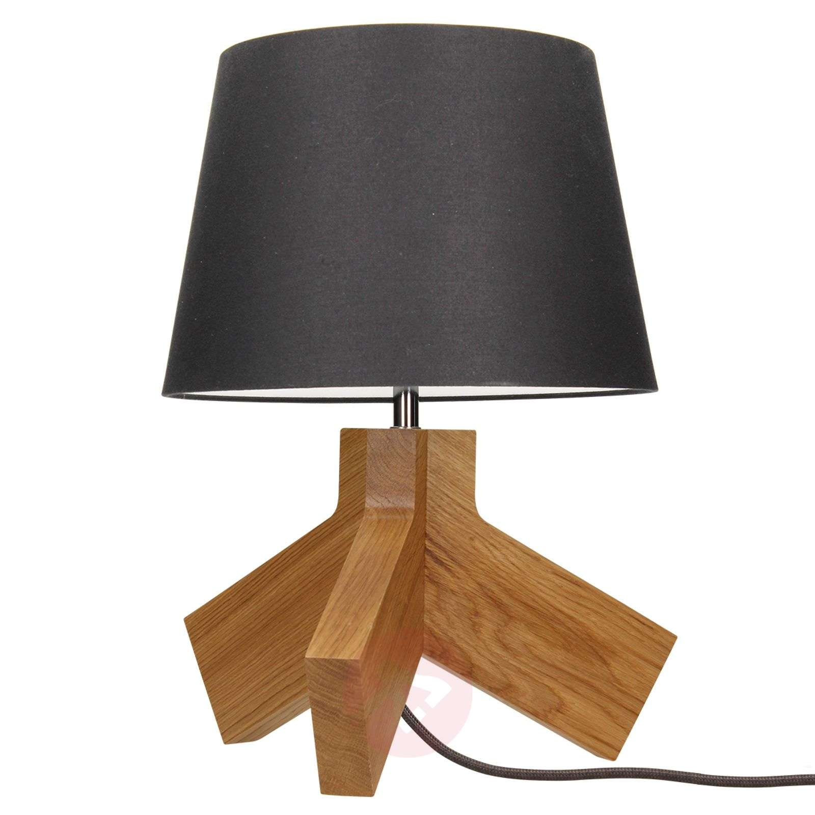 lampe poser en bois tilda abat jour anthracite. Black Bedroom Furniture Sets. Home Design Ideas