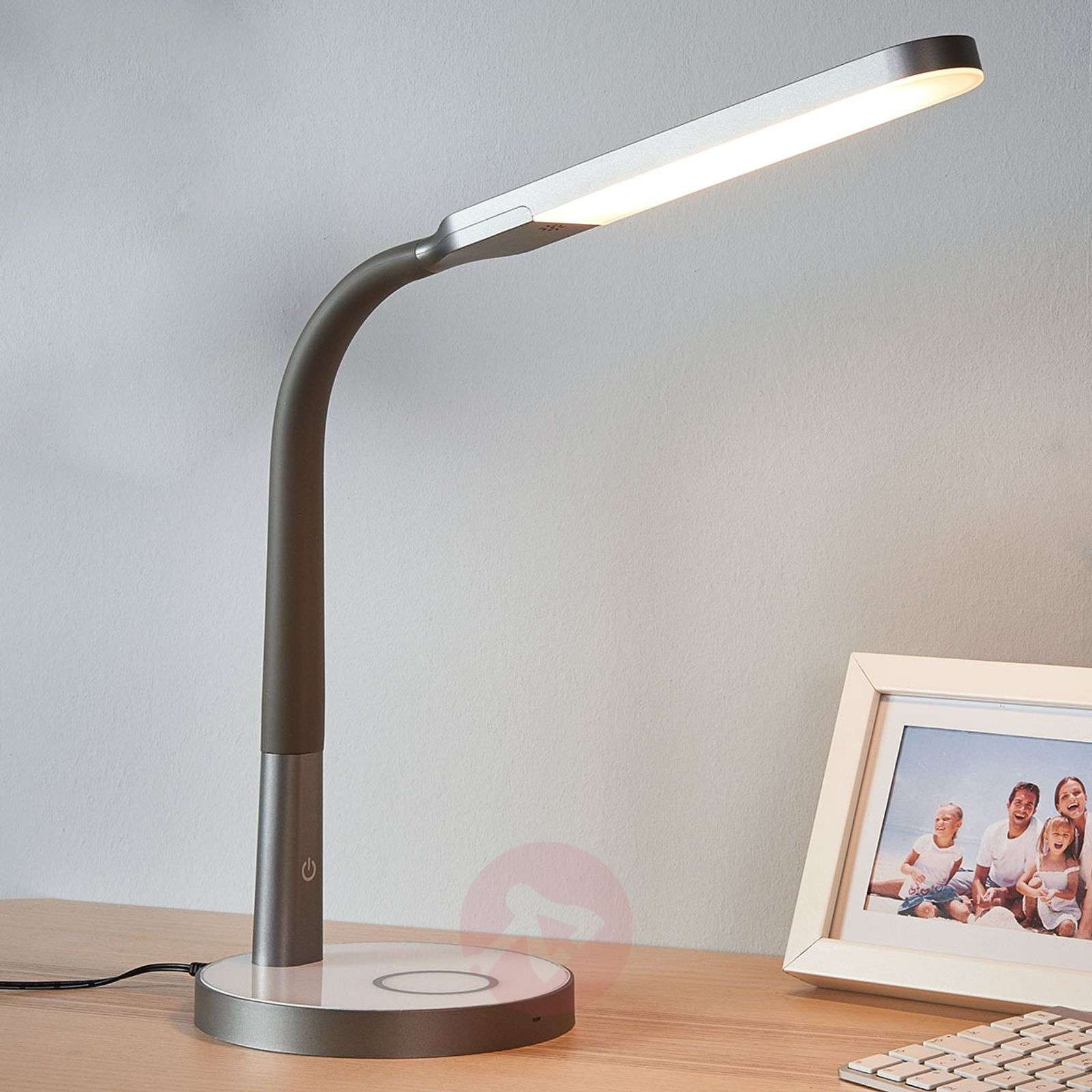 Bureau led connecté technologic gris et blanc promotions meuble