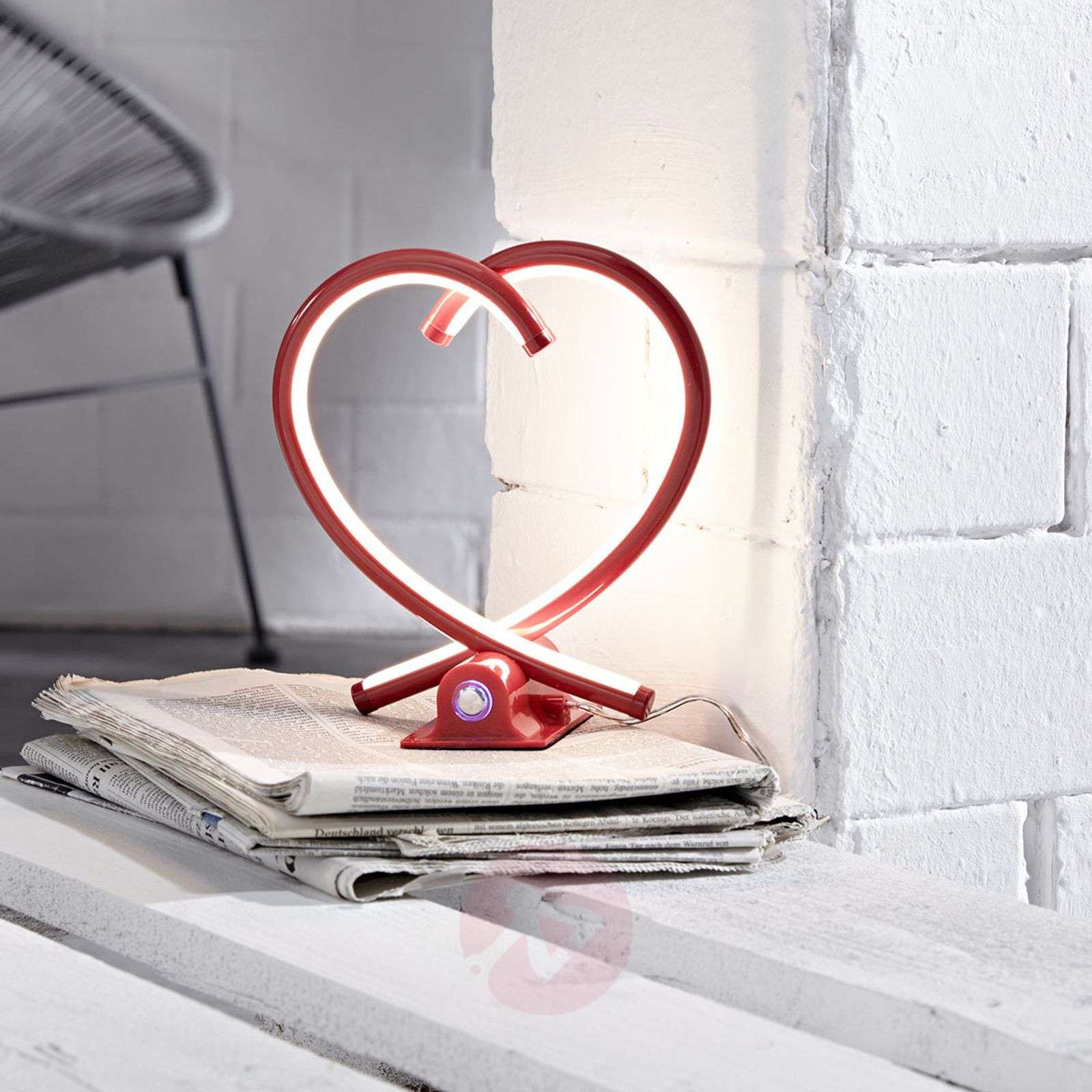 Lampe de table LED Valentin, rouge-9950738-02