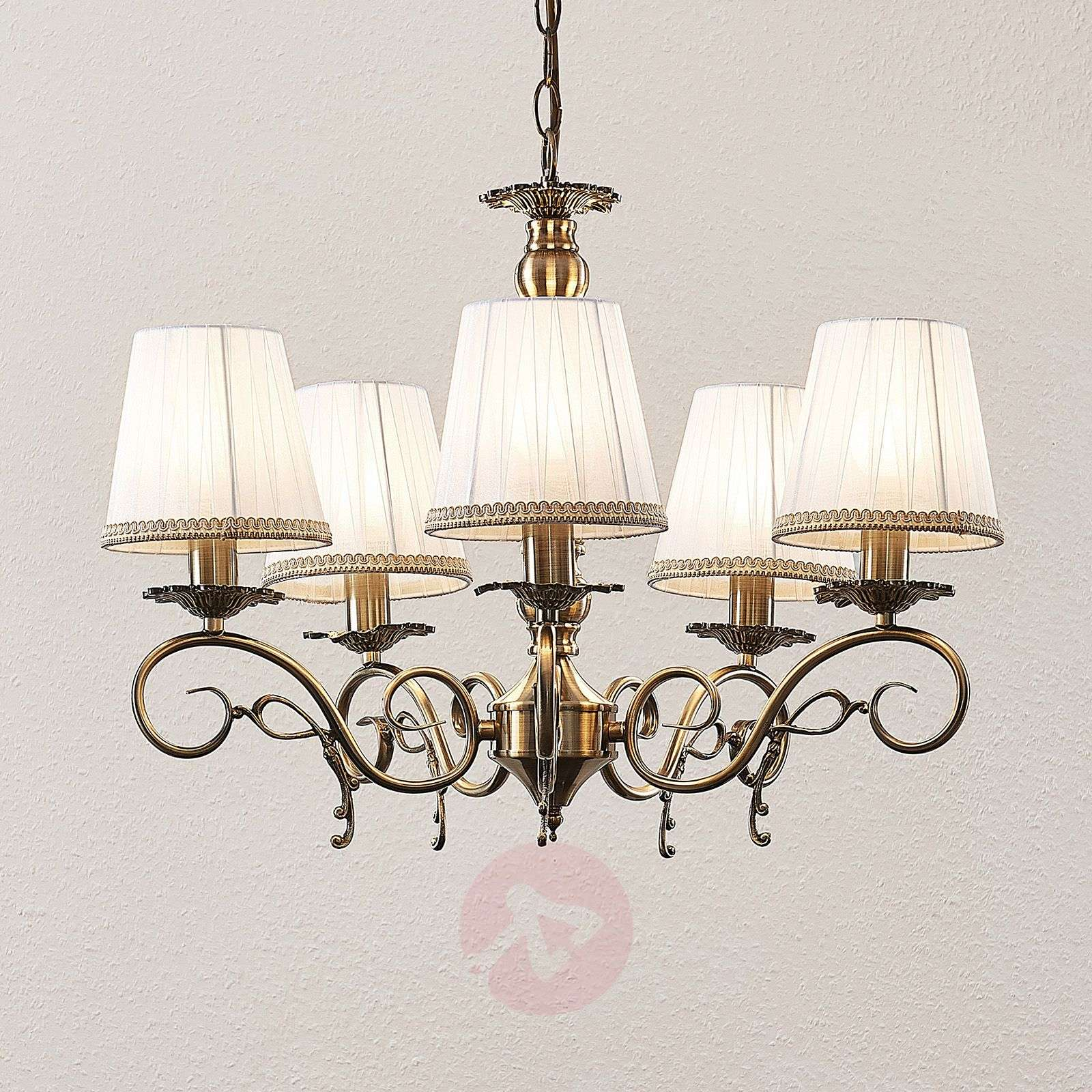Lindby Finnick Lustre à 5 lampes, laiton-9624888-02