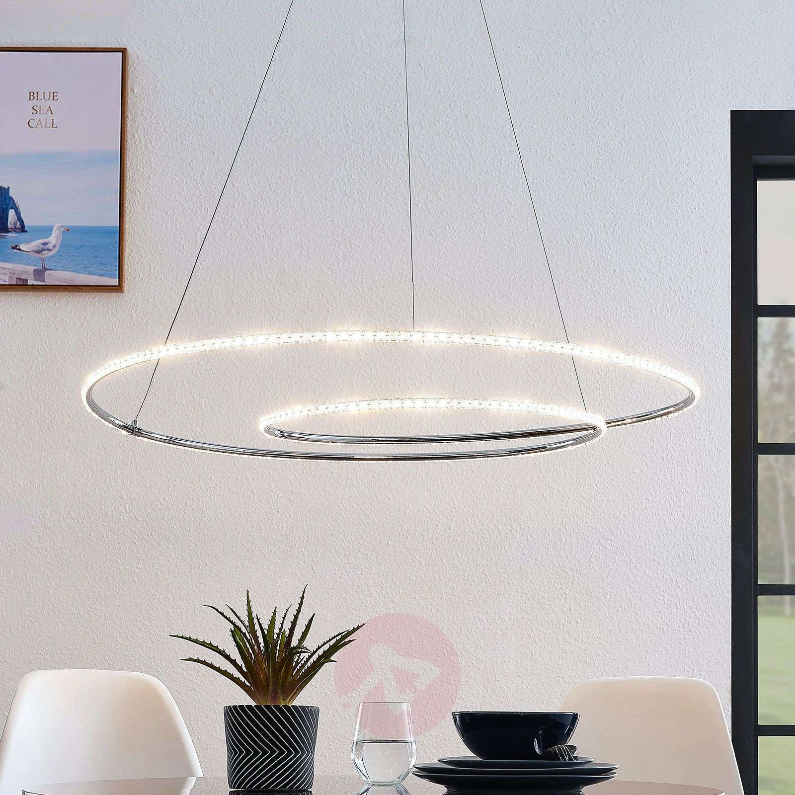 Lindby Lucy suspension LED, 90cm, cristal-9639149-02