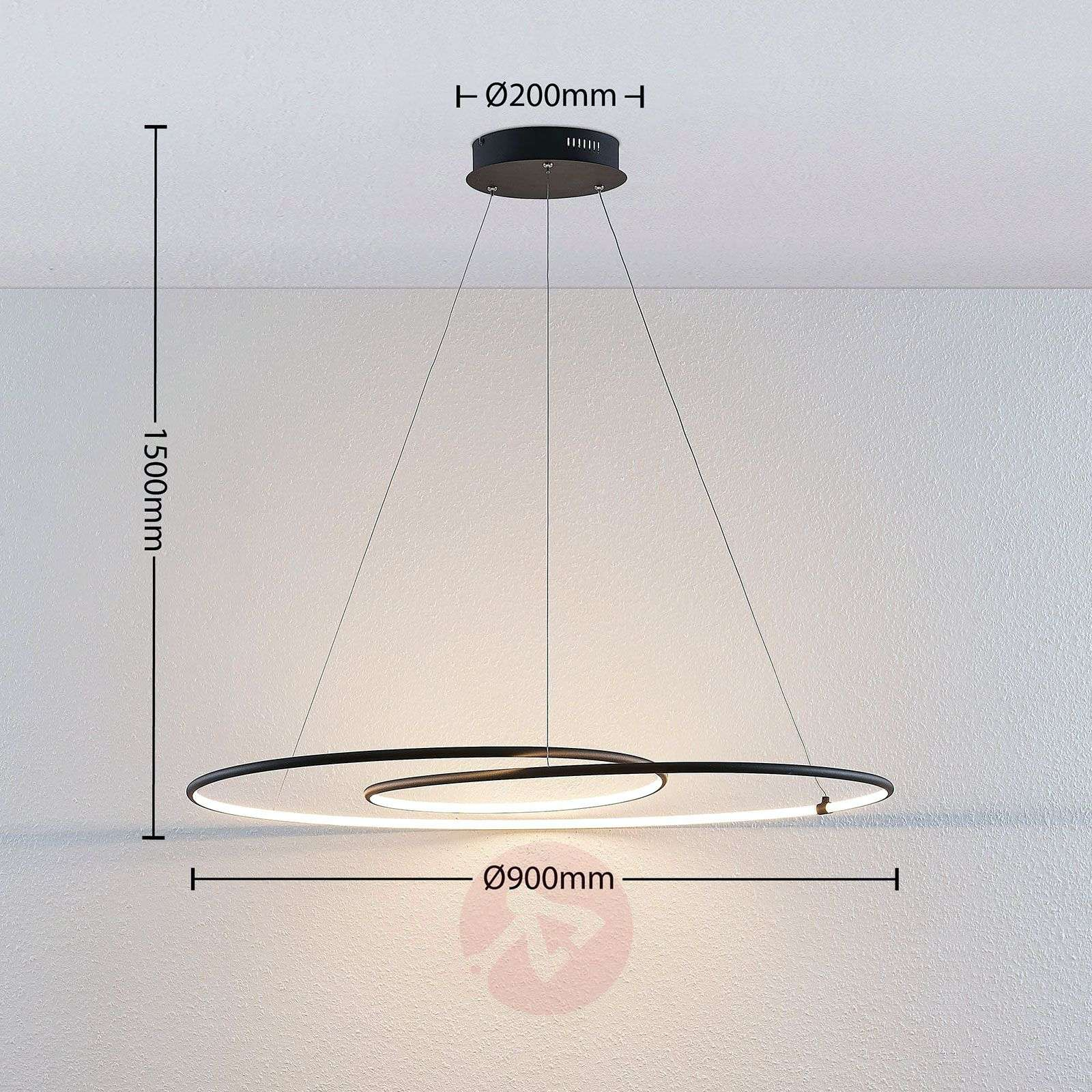 Lindby Lucy suspension LED, 90 cm, noir mat-9639146-02