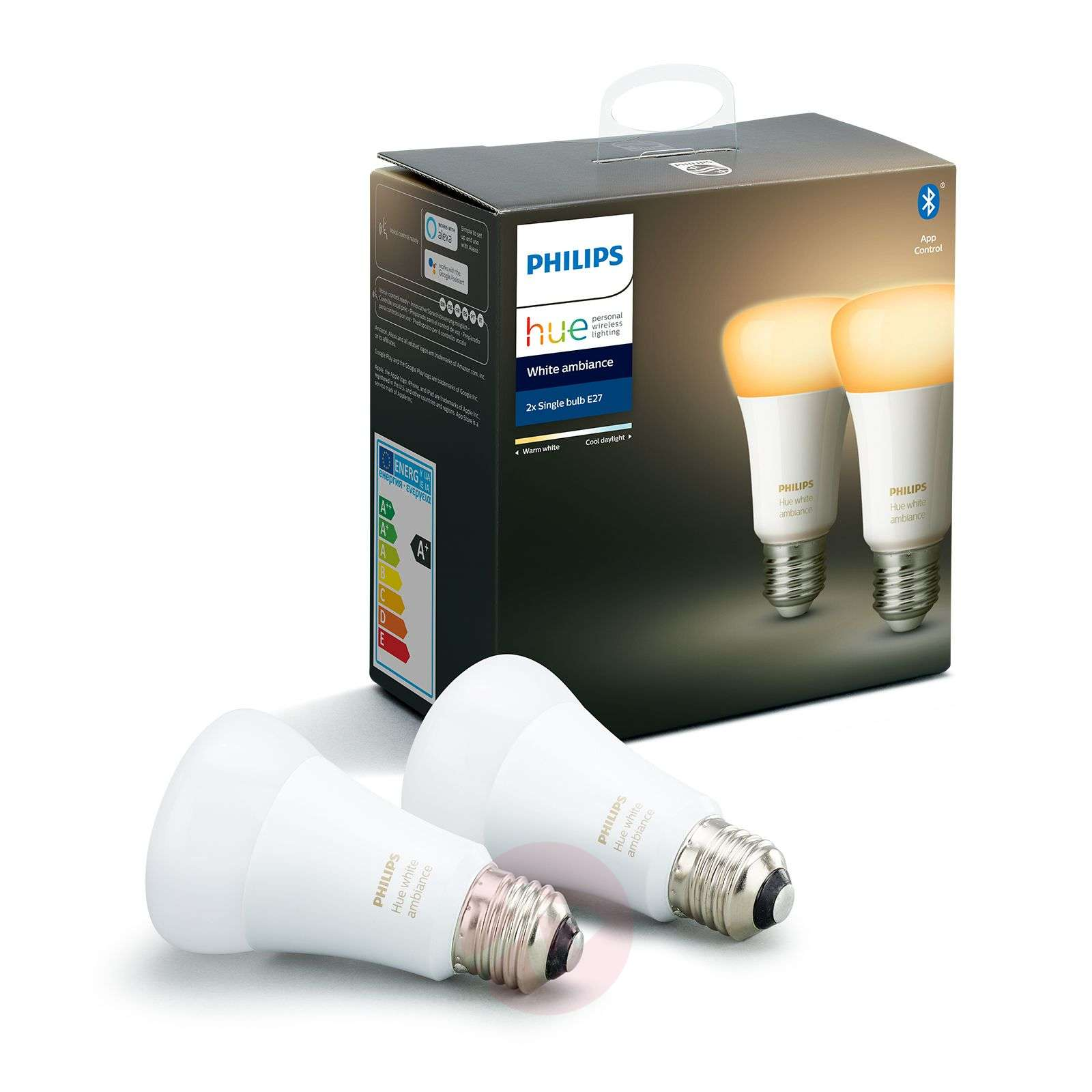 Philips Hue White Ambiance E27 8,5 W, lot de 2-7534127-01