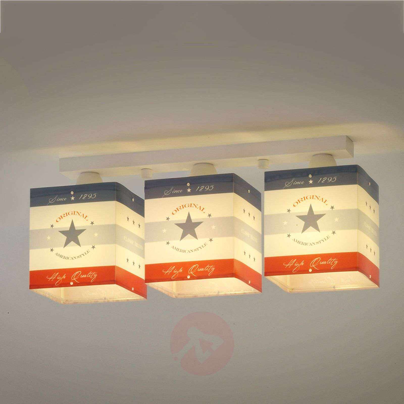 Plafonnier à rayures American Style, 3 lampes-2507330-01