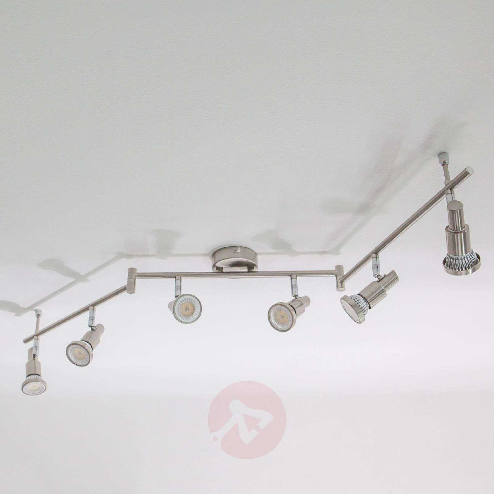 Plafonnier LED Aron aspect nickel à 6 lampes-9950324-02