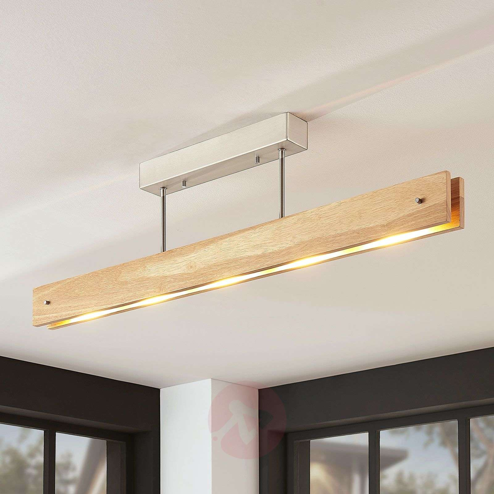 Plafonnier LED Evolette en bois, allongé-9624488-01