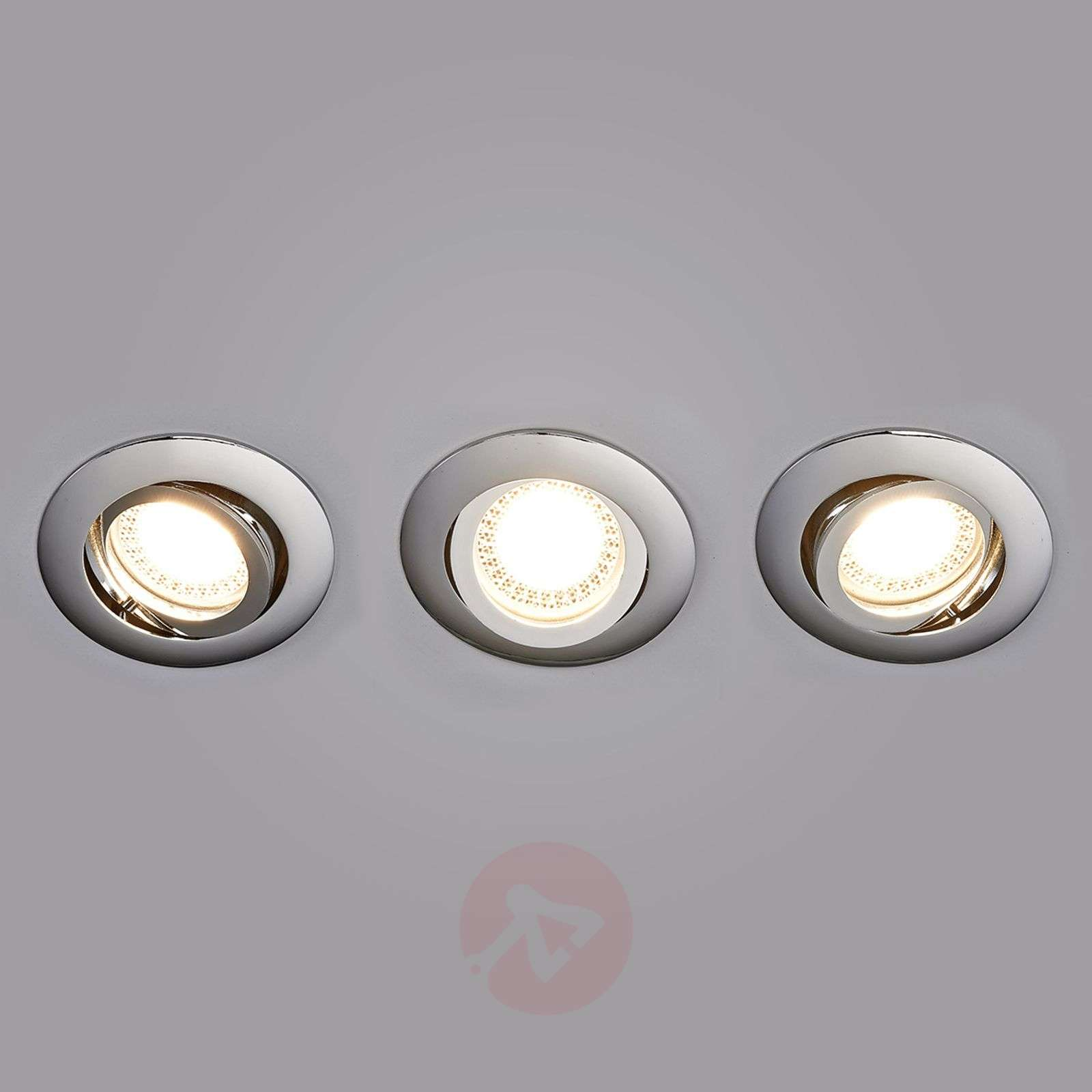 Set de 3 spots encastrés LED Lisara chromés ronds-9950355-01