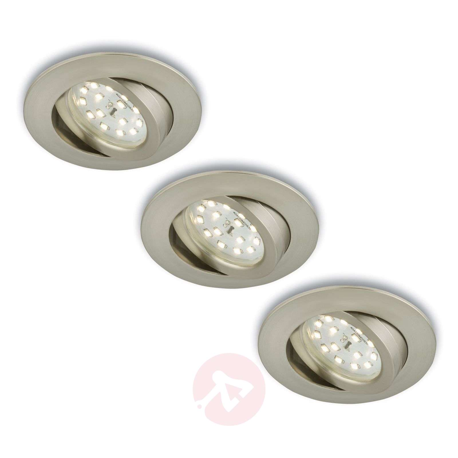 Spot encastré LED rotatif en set de 3 nickel mat-1510288-01