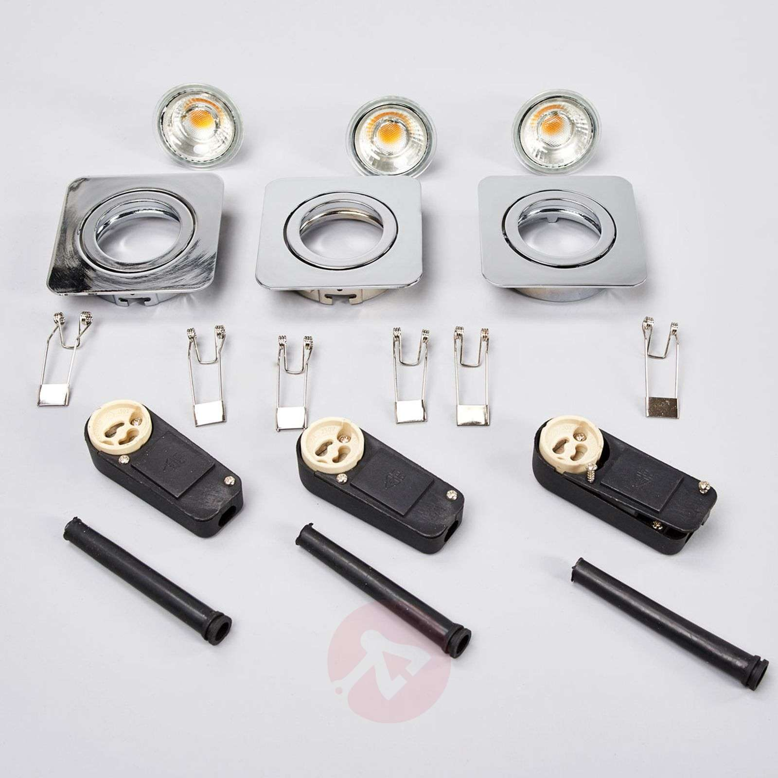Spots LED encastrables Charna, lot de 3, chromé-9954037-02