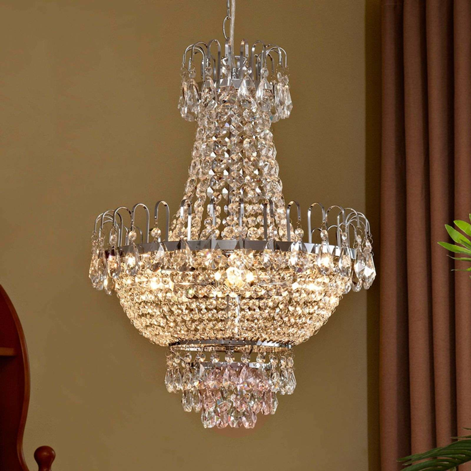 Suspension en cristal Casparia, chromé brillant-9620364-013