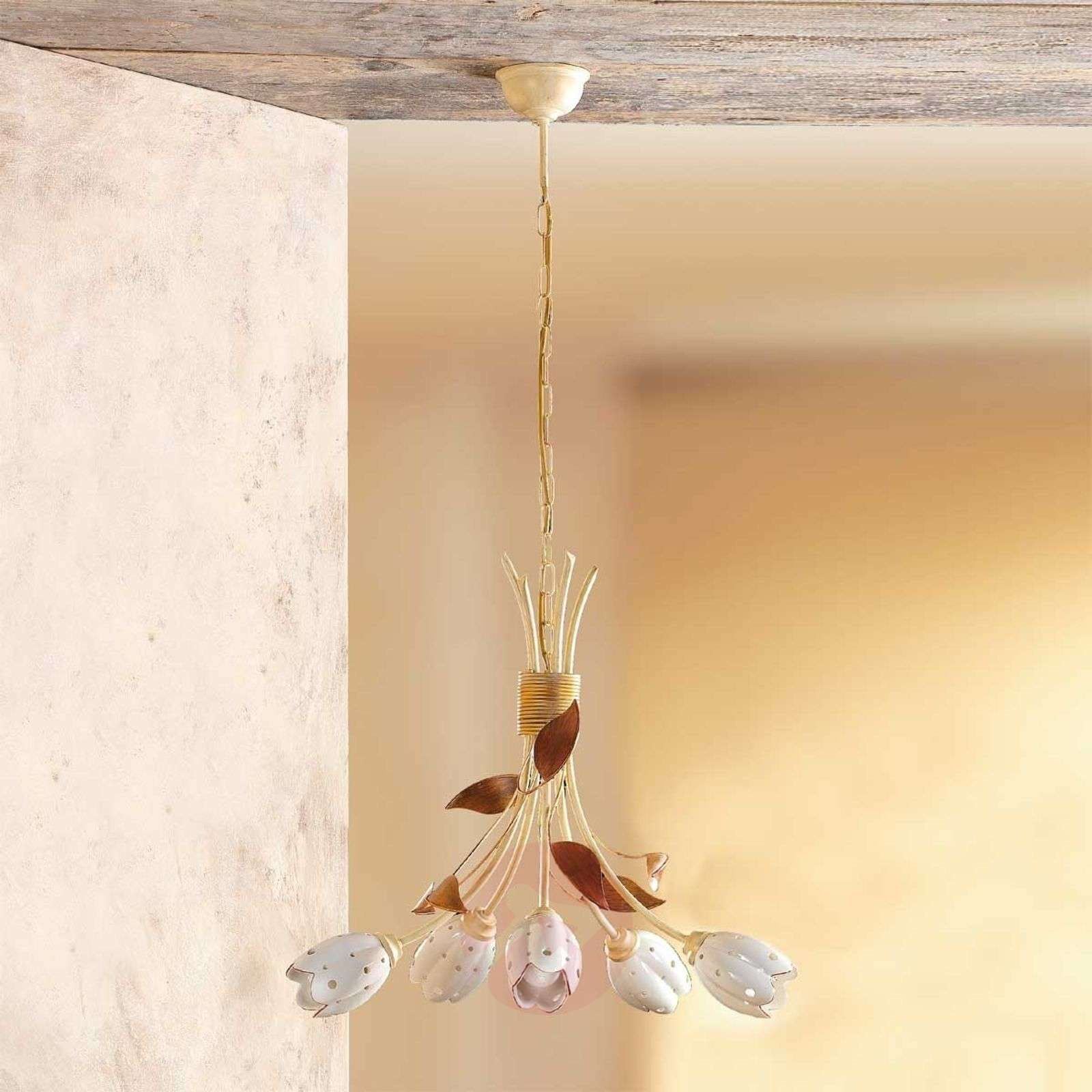 Suspension florale à 5 lampes TULIPANO