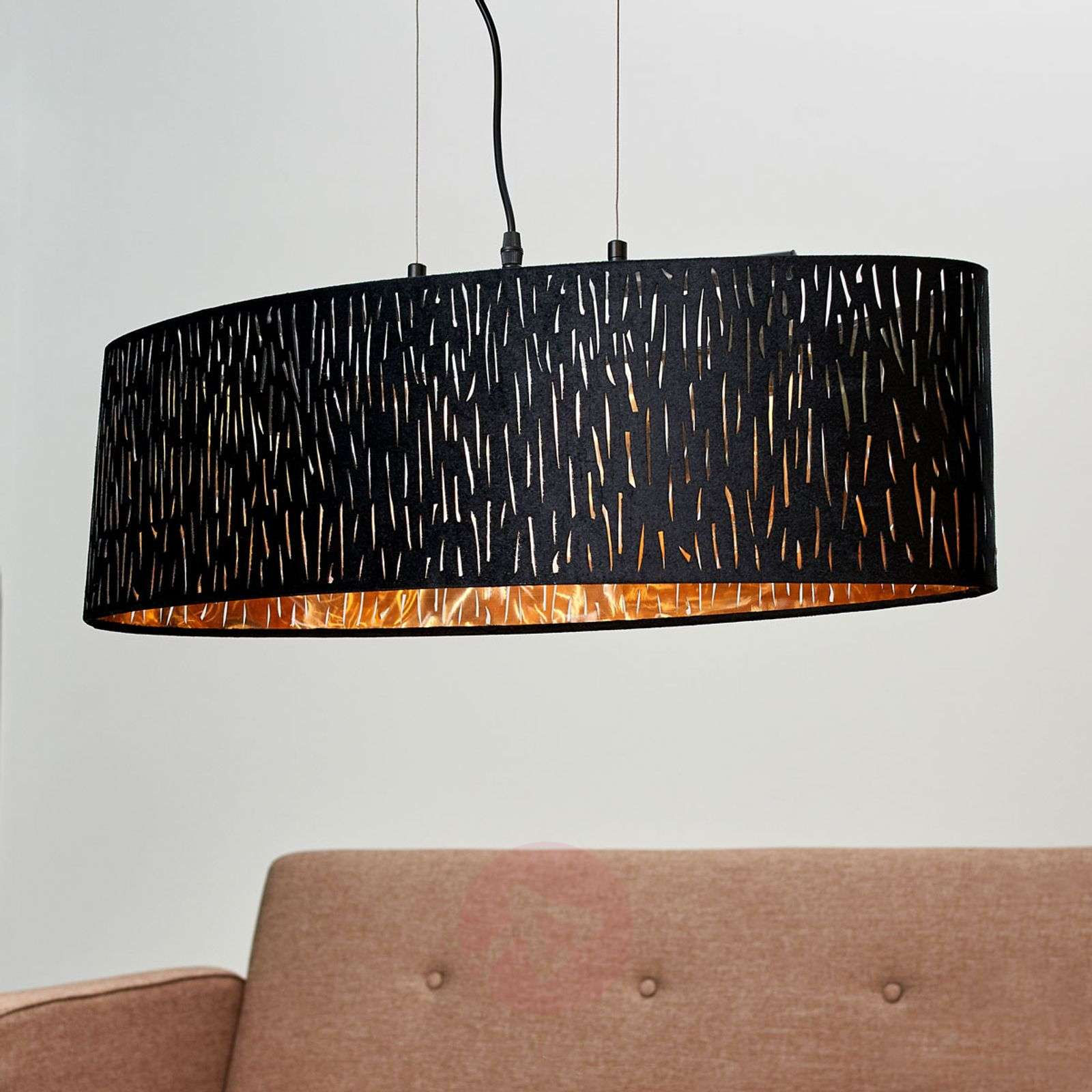 Suspension Jules en velours, noir-or 65 x 25 cm-4018115-01