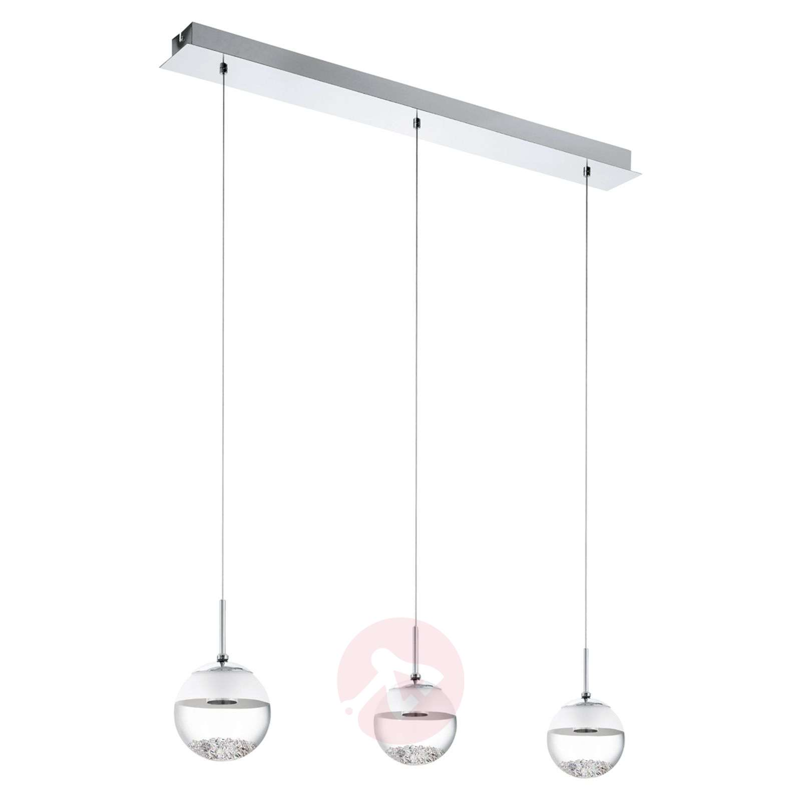 Suspension LED allongée Montefio avec cristal