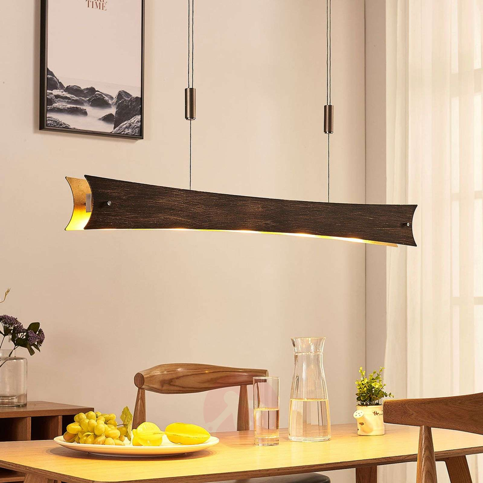 Suspension LED dimmable Ebba, noir doré