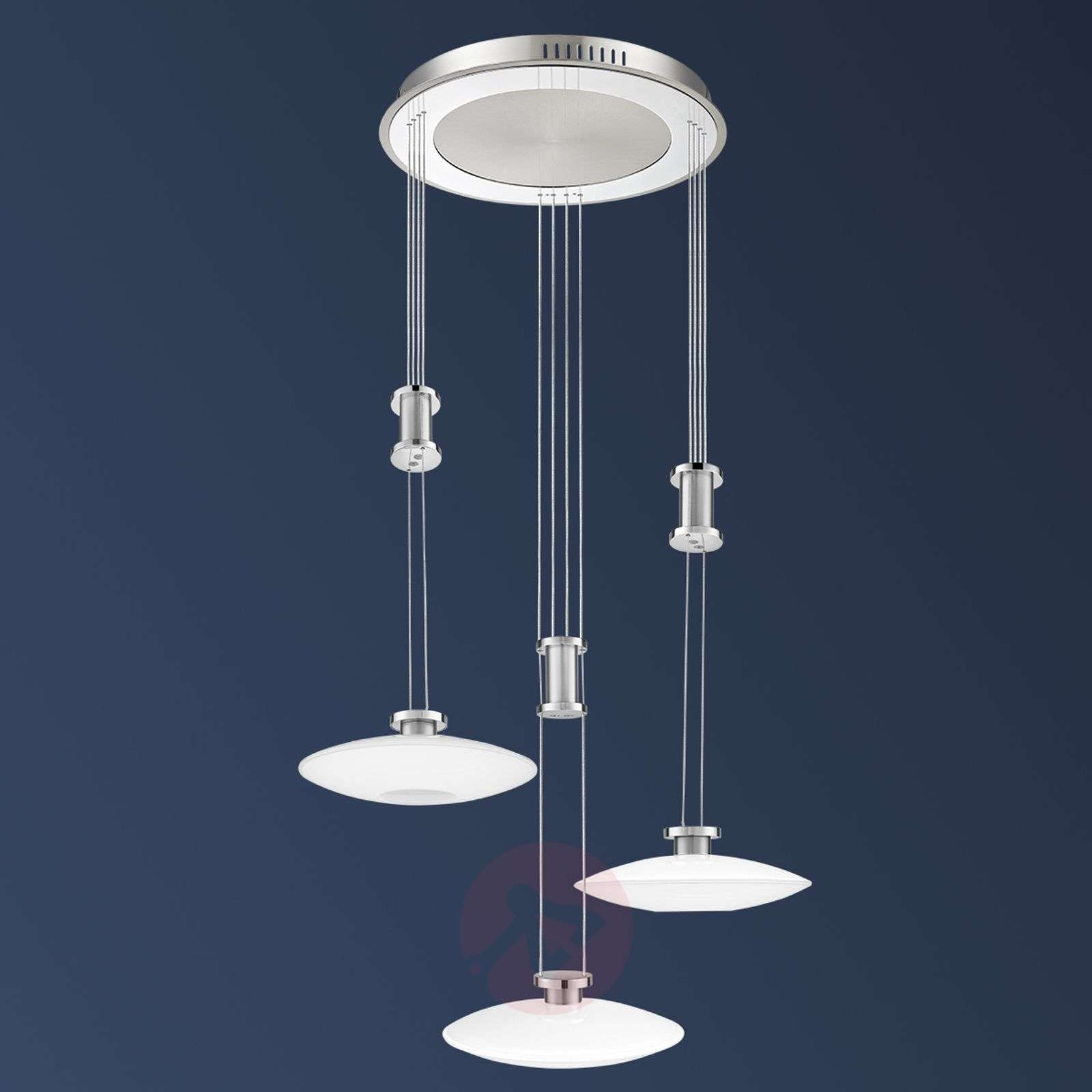 Suspension led new elina nickel embase ronde for Suspension luminaire ronde
