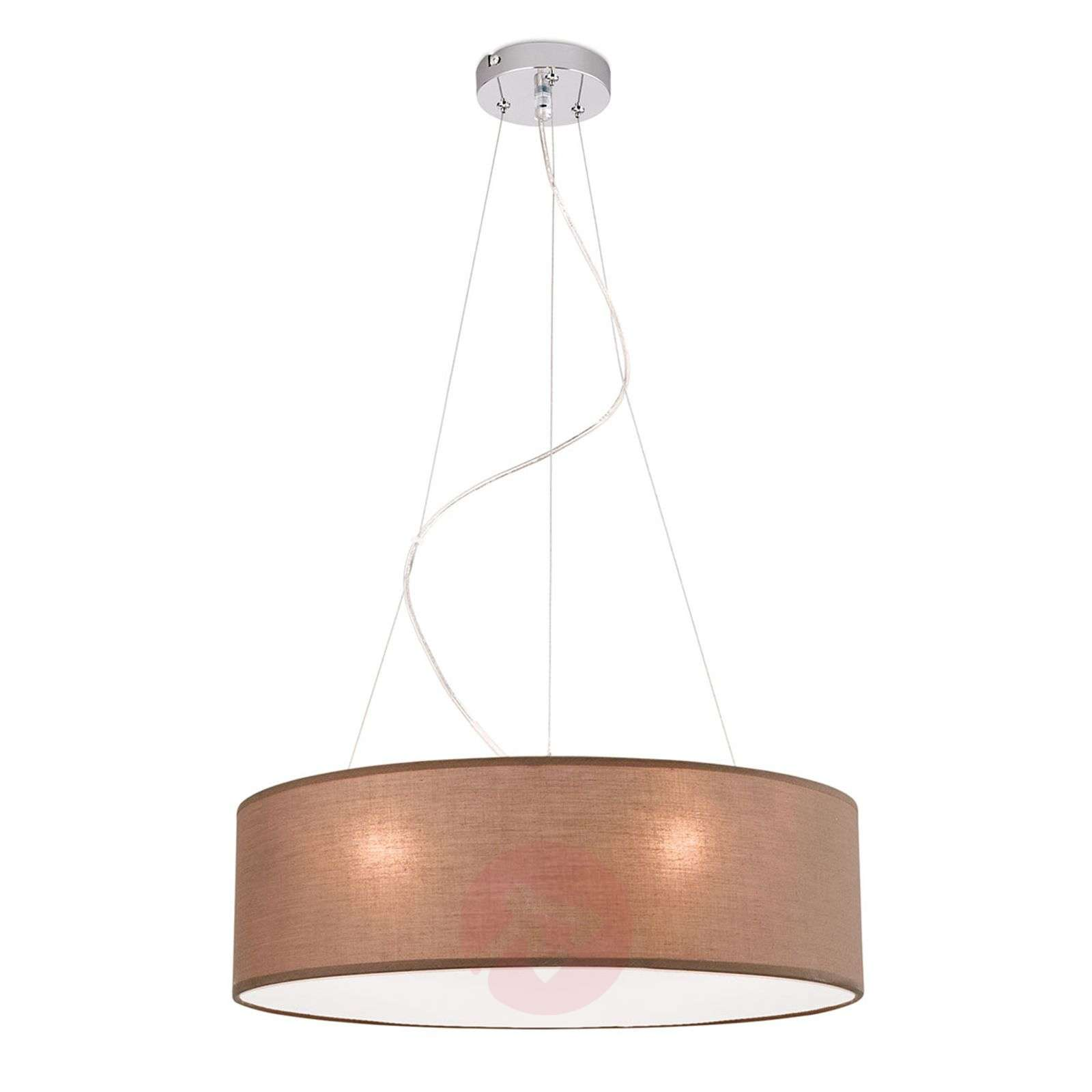 Suspension marron Ufo avec abat-jour en lin-7255353-01