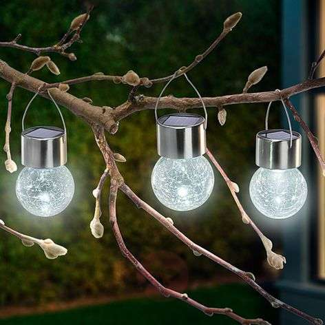 3 lampes solaires LED Crackle Ball 6 000 K