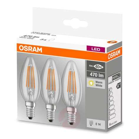Ampoule filament LED E14 4W, blanc chaud, kit de 3-7262098-31