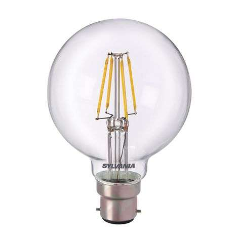 Ampoule globe LED B22 5 W 827, transparent