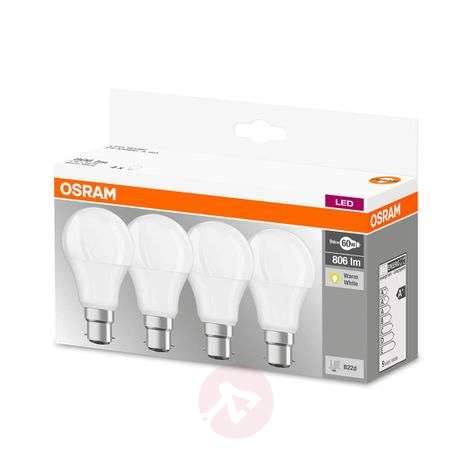 Ampoule LED B22d 9 W blanc chaud, 806 lm, kit de 4