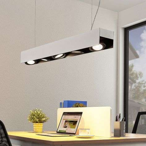 Arcchio Olinka suspension LED, noir-blanc 5 lampes