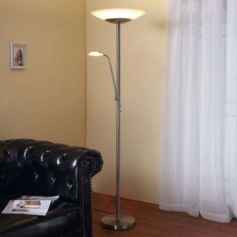 Lampadaire indirect LED Ragna liseuse, nickel mat