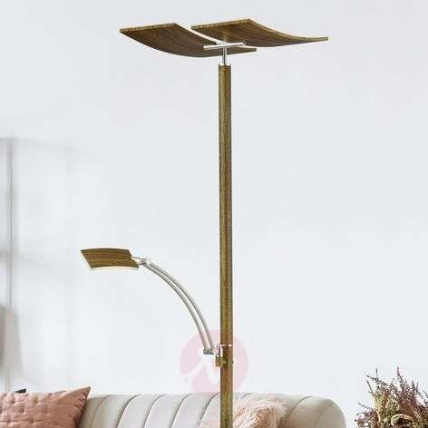 Lampadaire LED Duo dimmable, bois laqué