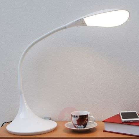 Lampe de bureau LED Josia à int variable en blanc