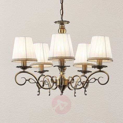 Lindby Finnick Lustre à 5 lampes, laiton