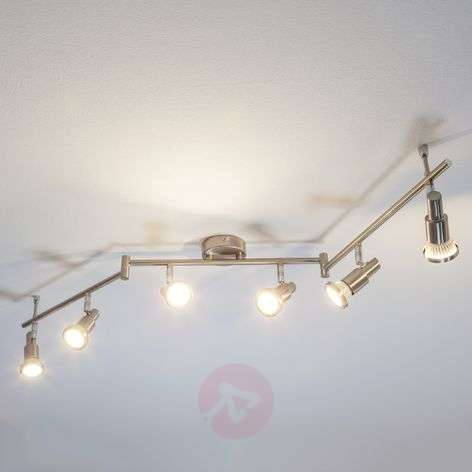 Plafonnier LED Aron aspect nickel à 6 lampes-9950324-32