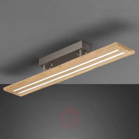 Plafonnier LED Cyra bois naturel, bordure bois