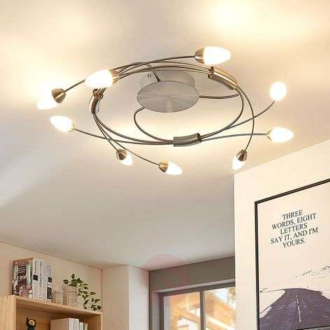 Plafonnier LED Deyan, dimmable, 9 lampes, rond