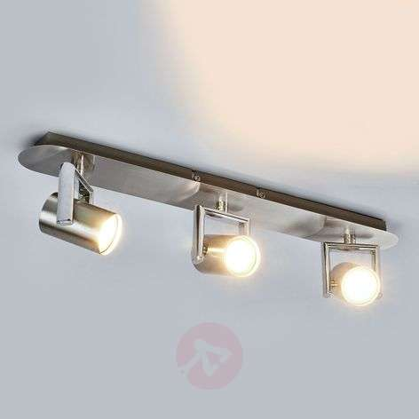 Plafonnier LED Luciana à trois lampes, nickel