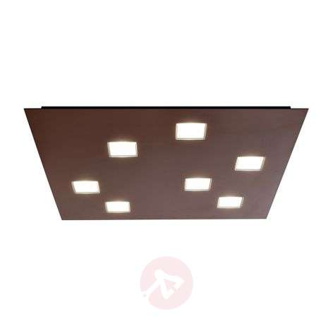 Plafonnier LED Quarter rectangulaire, 7 LED, brun