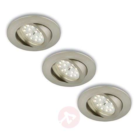 Spot encastré LED rotatif en set de 3 nickel mat-1510288-31