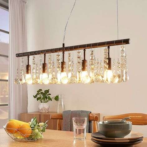 Suspension cristal couleur rouille Matei, 5 lampes