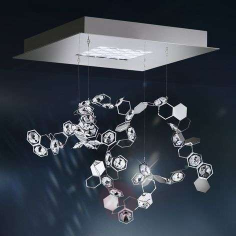 Suspension cristal Crystalon avec LED, 39x39cm