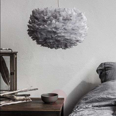 Suspension en plumes Eos medium, gris clair