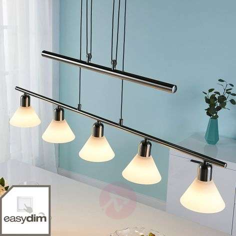 Suspension LED Eleasa, easydim à 5 lampes, nickel