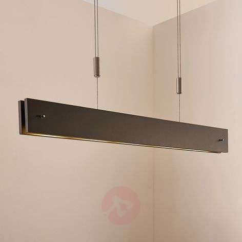 Suspension LED Karinja noire en bois, dimmable
