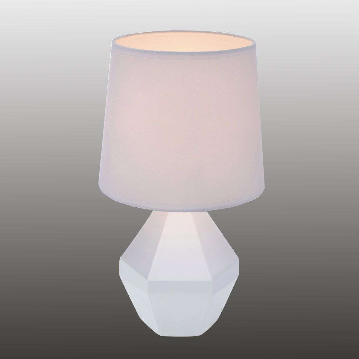 lampe poser blanche ruby avec pied c ramique. Black Bedroom Furniture Sets. Home Design Ideas
