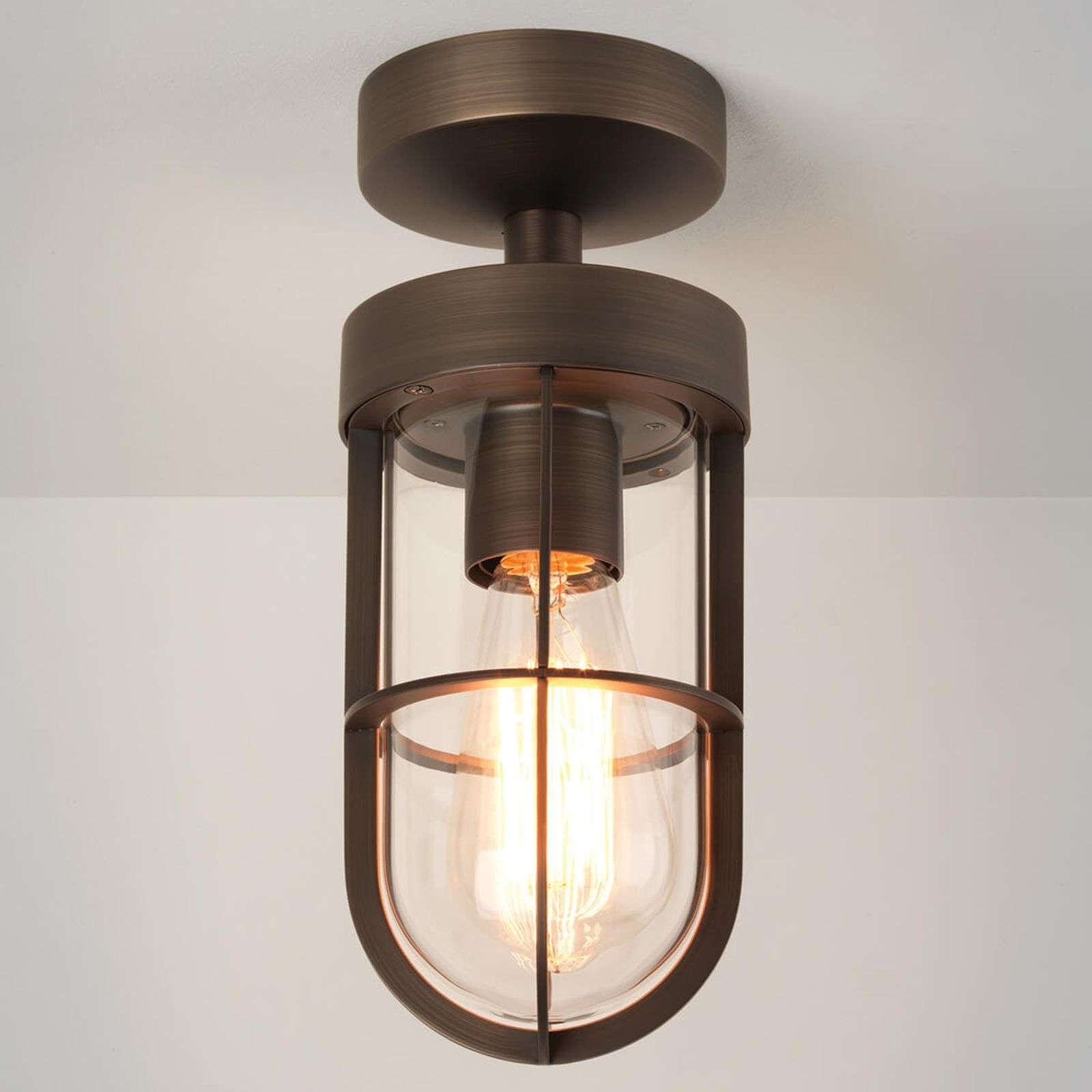 Plafonnier couleur bronze Cabin Semi-Flush IP44
