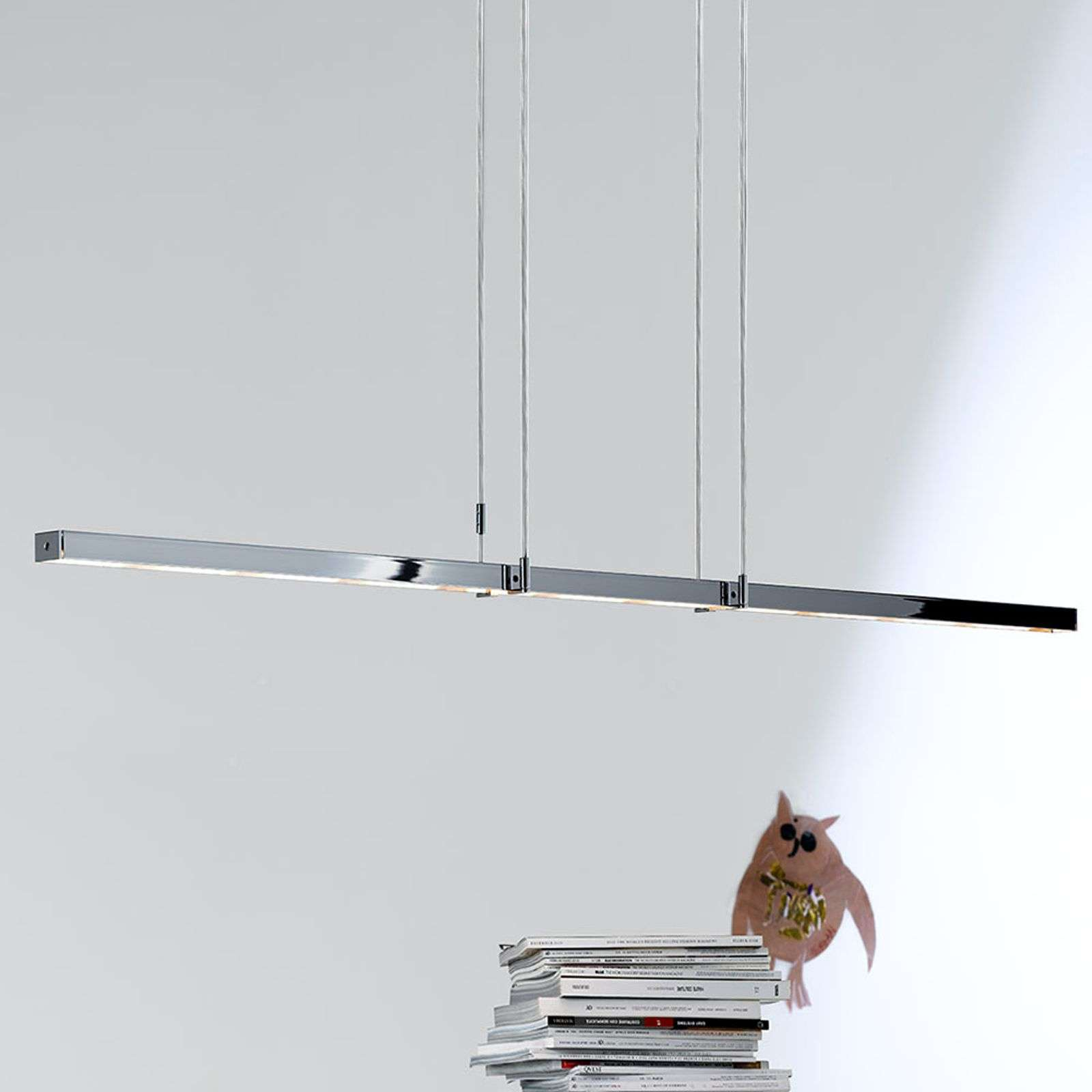 Suspension LED Tieso Tender, chromée polie, 165 cm