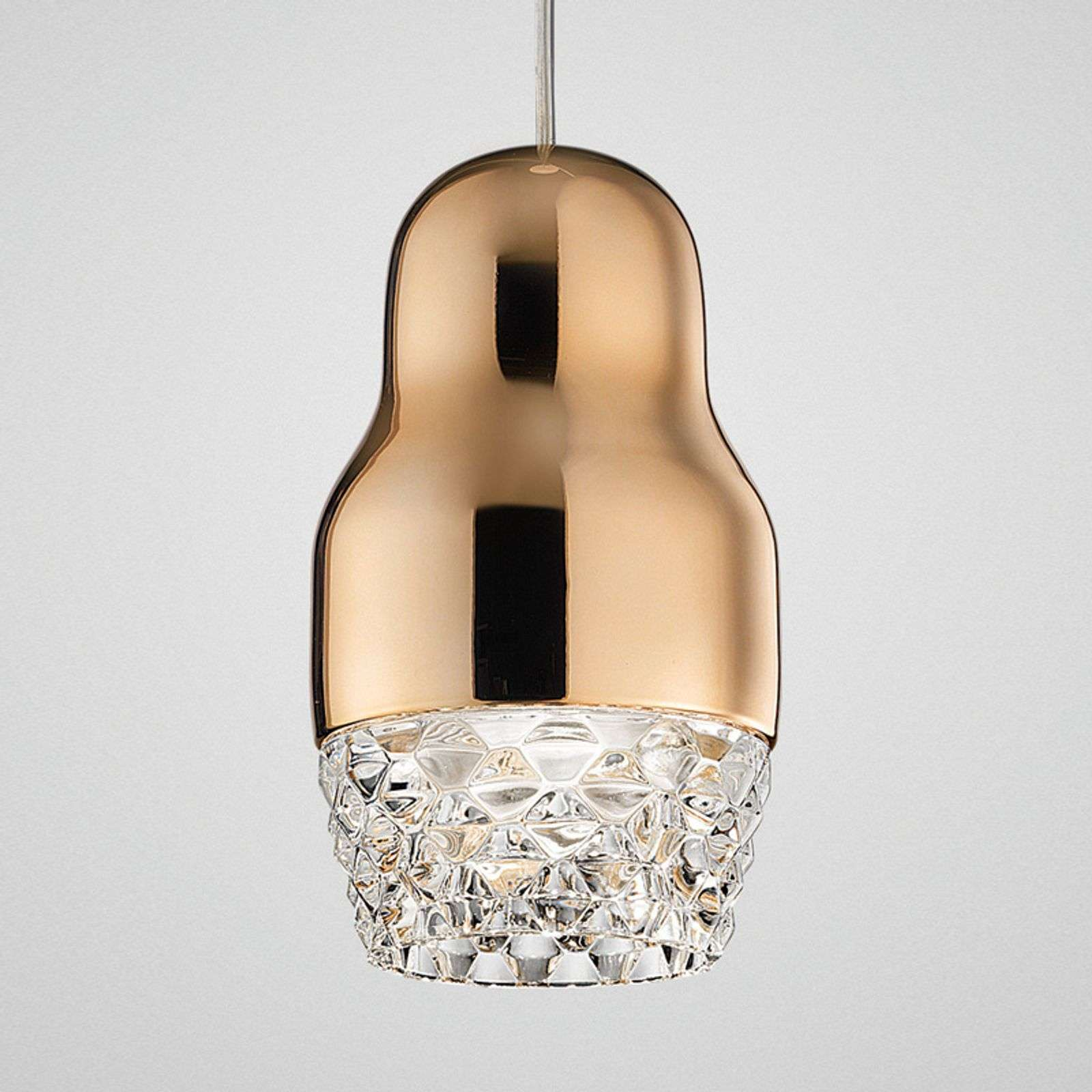 Suspension LED à 1 lampe Fedora rose doré
