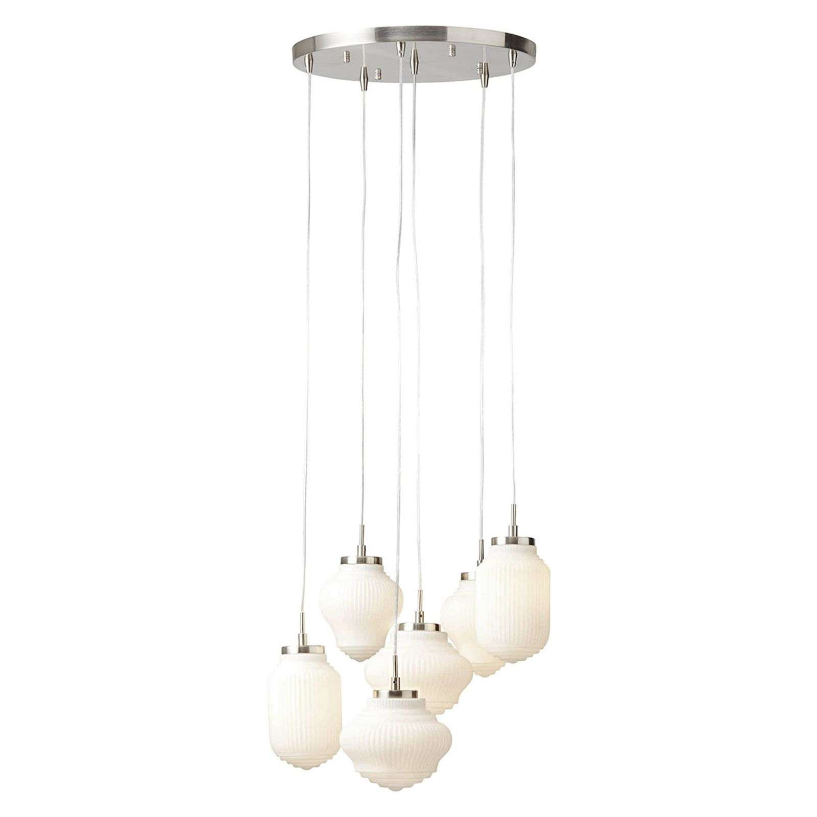 Suspension ronde Tanic 6 lampes, nickel + blanc